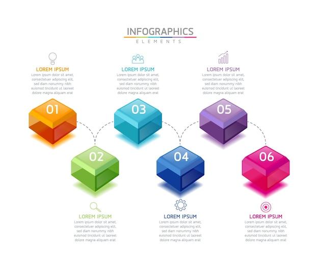 Иллюстрация инфографики шаблон дизайна бизнес-информации диаграмма презентации с 6 шагами