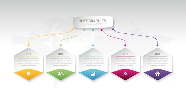 イラストインフォグラフィックデザインテンプレートビジネス情報プレゼンテーションチャート5ステップ