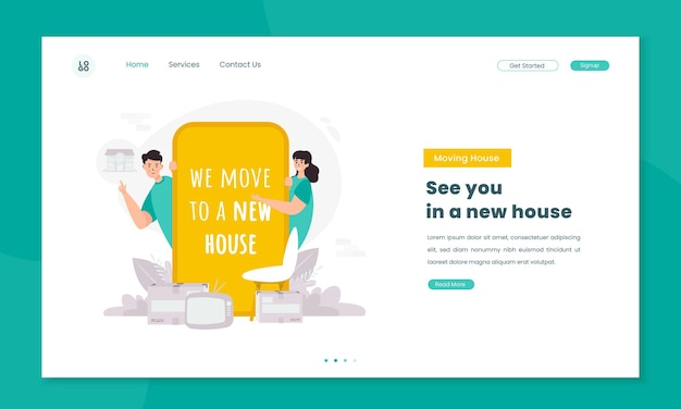 Illustration informs that we have moved to a new house on landing page concept