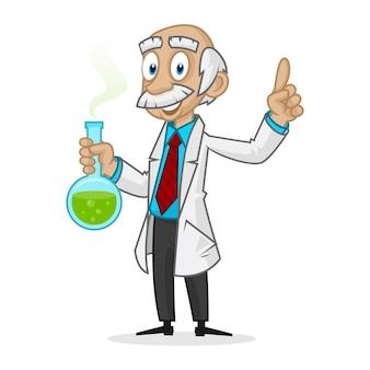 Иллюстрация гениального профессора, держащего трубку, формат eps 10