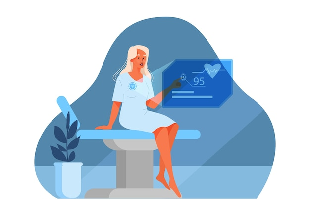Illustration of innovative healthcare. concept of modern medicine treatment, virtual environment in hospital. patient using virtual medical technology. an idea of clinic innovation