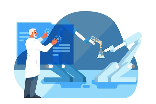 Illustration of innovative healthcare and medical research. concept of modern medicine treatment, expertize, diagnostic. virtual and robotic environment in hospital.