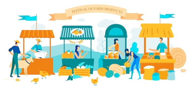Illustration inscription festival farm products.