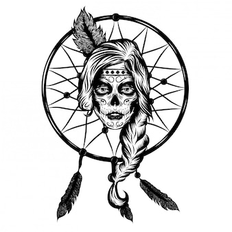 Illustration inspiration of dream catcher indian women