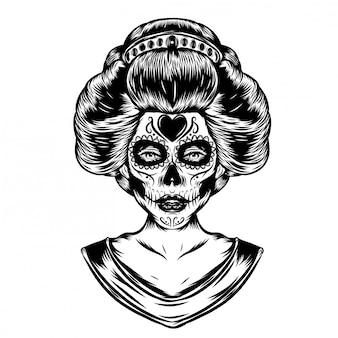 Иллюстрация вдохновения японских традиционных женщин с фейс-артом