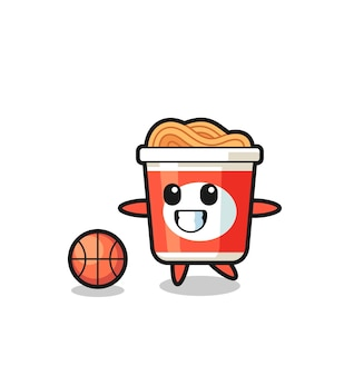 Illustration of instant noodle cartoon is playing basketball , cute style design for t shirt, sticker, logo element