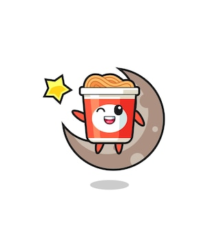 Illustration of instant noodle cartoon sitting on the half moon , cute style design for t shirt, sticker, logo element