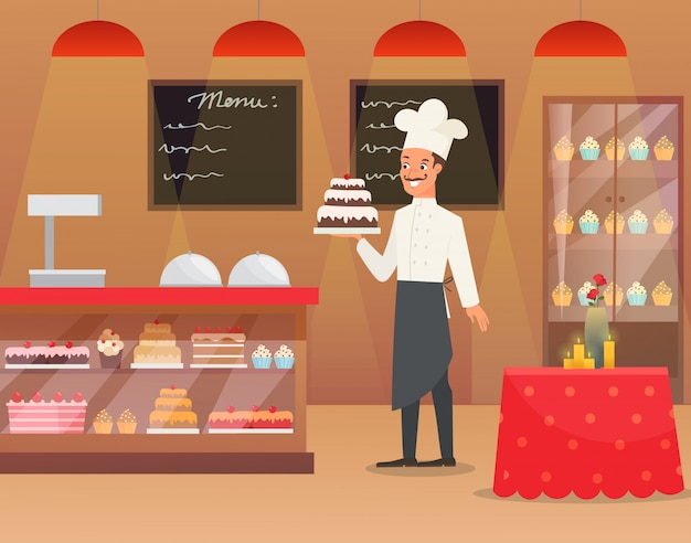 Illustration interior of bakery with man baker chef character holding cake.