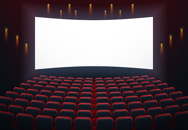 An illustration of the interior of a cinema movie theatre with copyspace on the screen