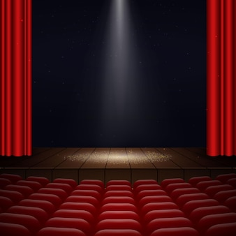 Illustration of the interior of a cinema movie theatre with red curtains, rows of seats, wooden scene