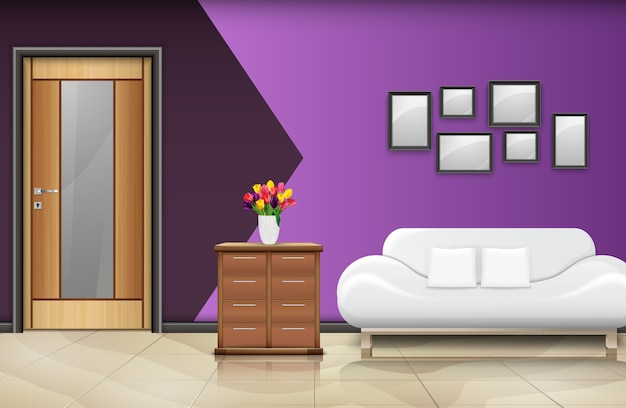 Illustration of interior design with wooden door