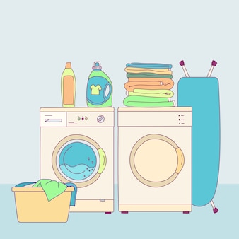 Illustration of interior equipment of laundry room with washing machine, household products, pile of clothes, iron.