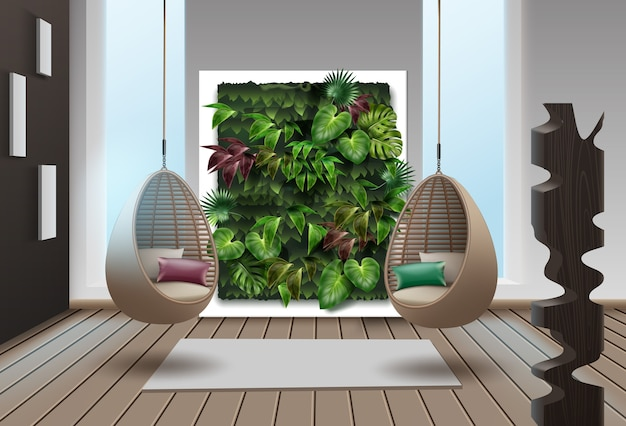 Illustration of interior with vertical garden and wicker hanging chairs