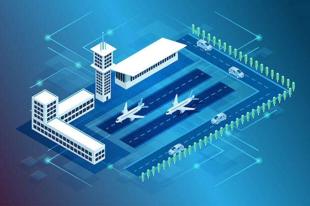 Illustration of an international airport building and aircraft and aircraft landing in isometric 3d style