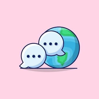 Illustration of international business global communication with globe earth, and communication bubble