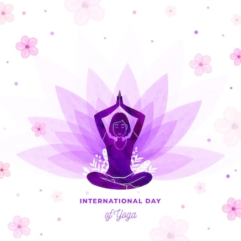 Illustration of international day of yoga in watercolor