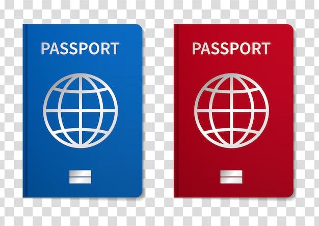 透明な背景で隔離のイラスト国際パスポート。