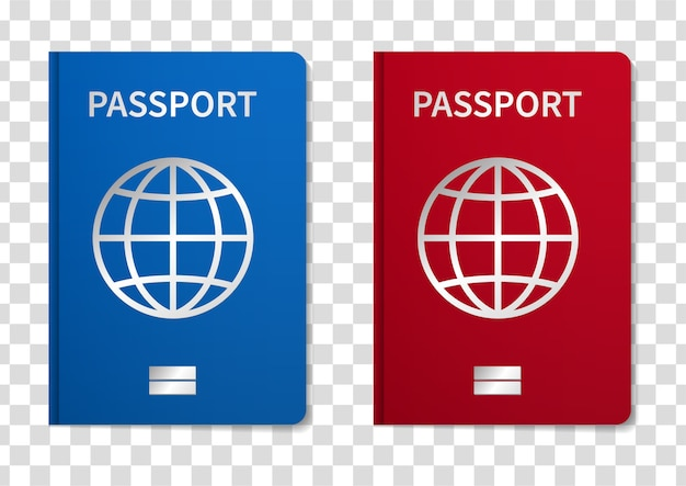 Illustration international passport isolated on transparent background.