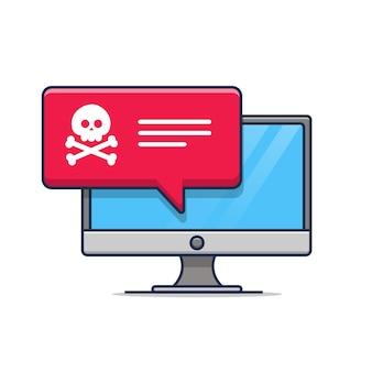 Illustration of internet fraud warning notification icon error on computer desktop