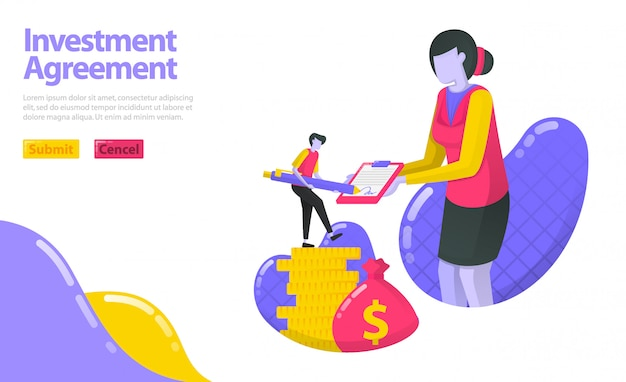 Illustration of investment agreement. person who signed the agreement with the investment manager. invest in money and asset.