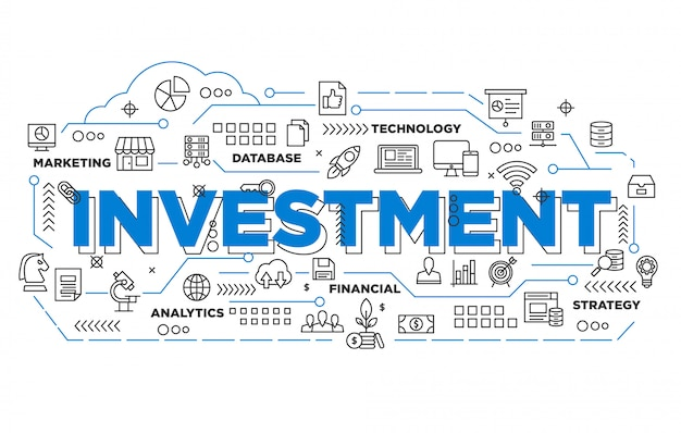 Illustration of investment banner design with iconic style