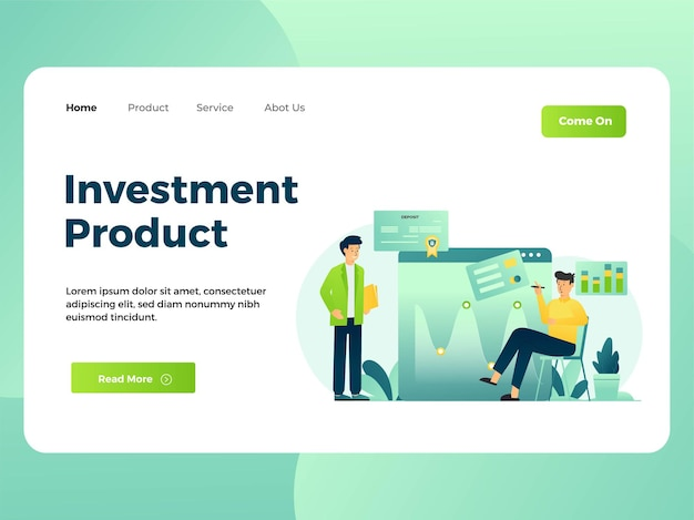 Illustration of an investor doing market analysis landing page template