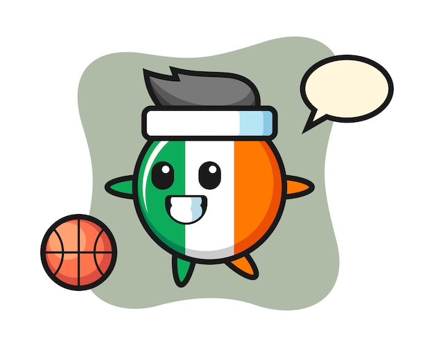Illustration of ireland flag badge cartoon is playing basketball