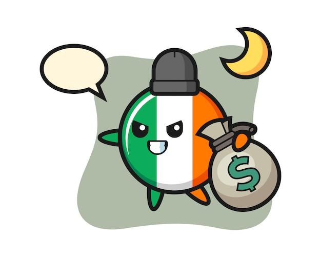 Illustration of ireland flag badge cartoon is stolen the money