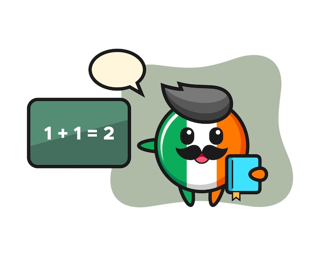 Illustration of ireland flag badge character as a teacher