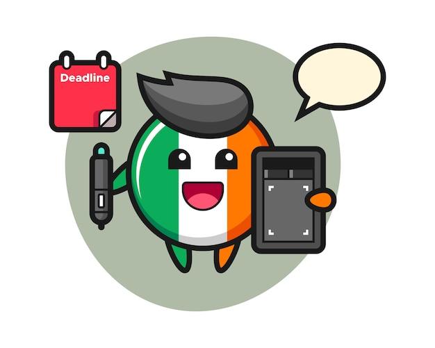 Illustration of ireland flag badge mascot as a graphic designer