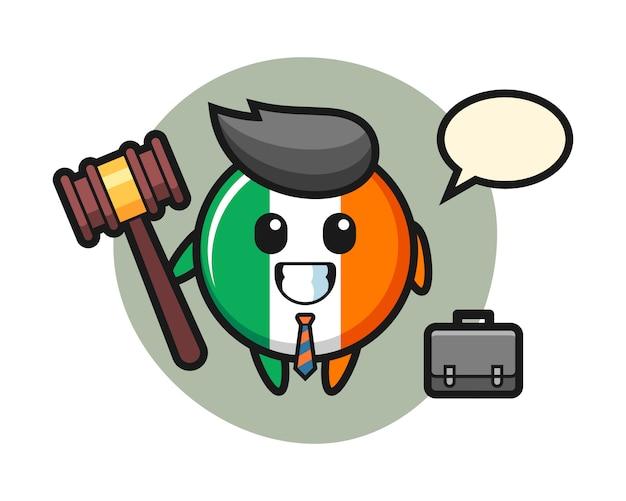 Illustration of ireland flag badge mascot as a lawyer