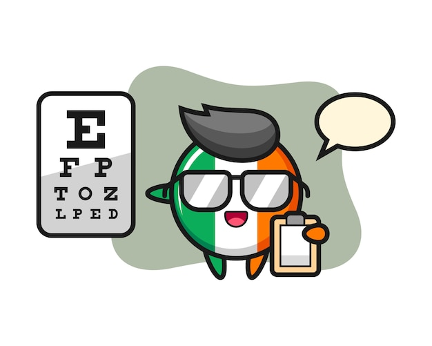 Illustration of ireland flag badge mascot as a ophthalmology