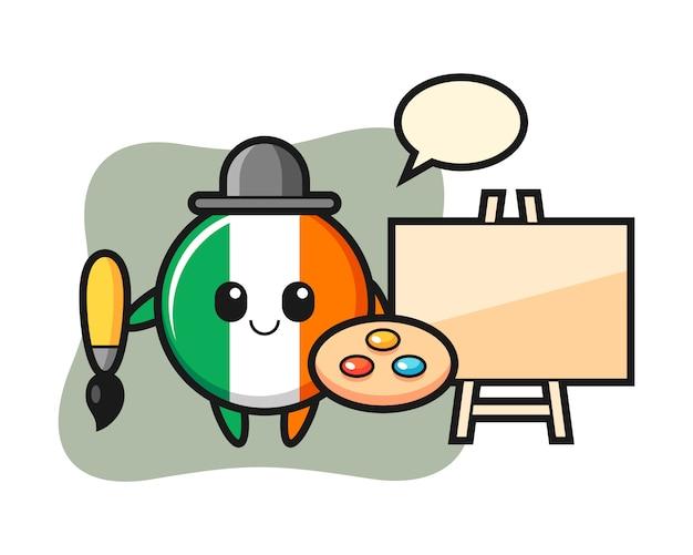 Illustration of ireland flag badge mascot as a painter
