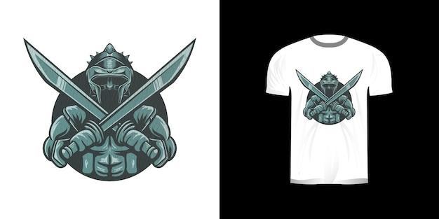 Иллюстрация железные доспехи рыцаря в ретро-дизайне для дизайна футболки