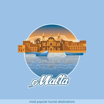 Illustration of the island malta in a circle on a blue