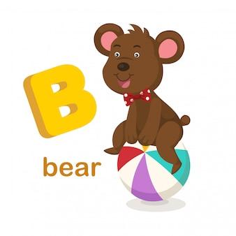 고립 된 알파벳 문자 b 곰 그림