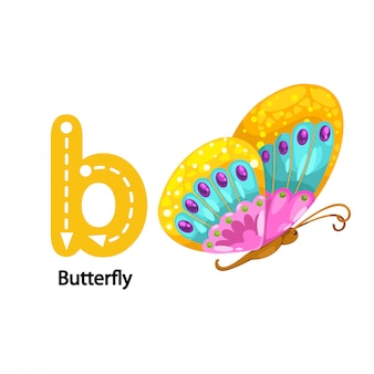Illustration isolated alphabet letter b-butterfly.