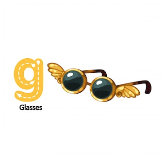 Illustration isolated alphabet letter g-glasses