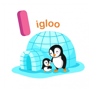 Illustration isolated alphabet letter i igloo