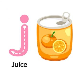 Illustration isolated alphabet letter j-juice