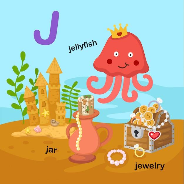 Illustration isolated alphabet letter j