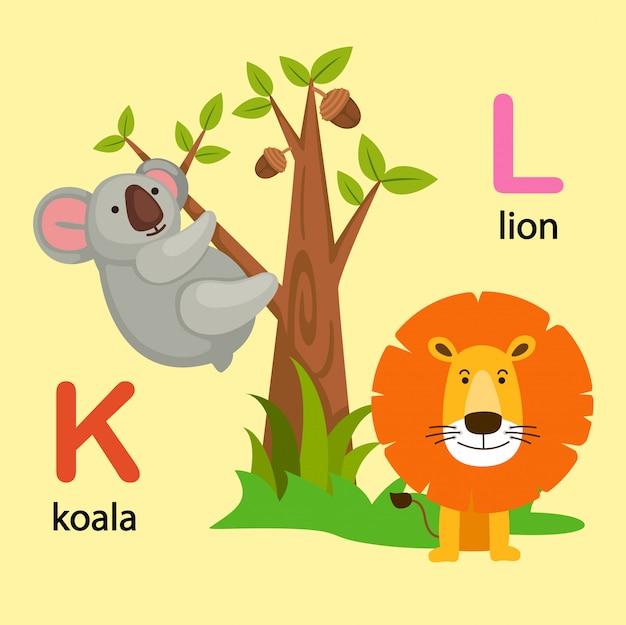 Иллюстрация изолированных алфавит буква k-коала, l-лев