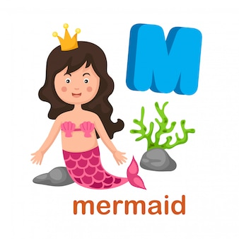 Illustration isolated alphabet letter m mermaid