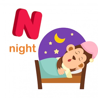 Illustration isolated alphabet letter n night