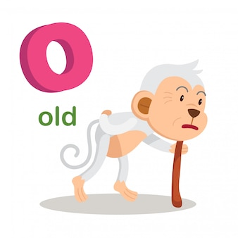 Illustration isolated alphabet letter o old