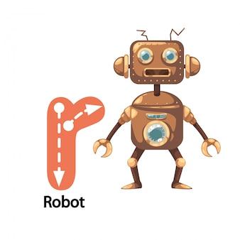 Illustration isolated ALPHABET LETTER R-Robot