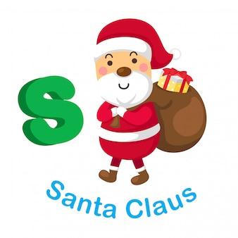 Illustration isolated alphabet letter s santa claus