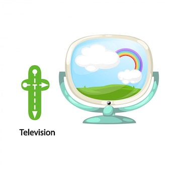 Illustration isolated alphabet letter t-television