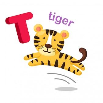 Illustration isolated alphabet letter t tiger