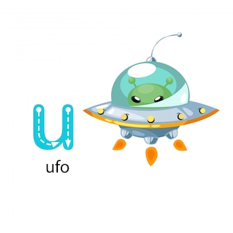 Illustration isolated alphabet letter u-ufo